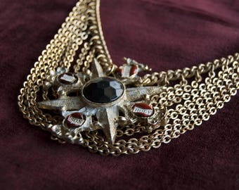 Maltese Cross Reliquary Necklace / Mutli Chain Layered Necklace / Gothic Choker / Statement Necklace / Gothic Cross Necklace