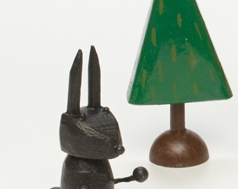 bunny figure | brown bunny | white rabbit | black rabbit | rabbit figure | christmas putz | tiny forest | build a forest | woodland scene