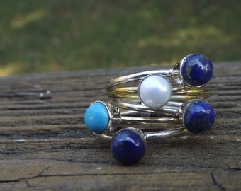 Genuine Stone Ring - Lapis, Larimar, Pearl sterling silver ring - stacking rings - mix and match - hottest style
