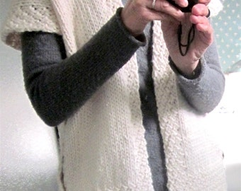Woman's Tunic-Length Artistic Sweater Vest Size Sm. / Hand Knit, Warm Christmas Gift, One of a Kind