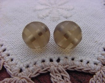 Incredible Taupe Etched Vintage Glass Beads