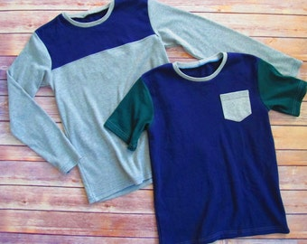 Boys T Shirt Pattern - Long and Short Sleeves - Colorblock or Pocket Tee - 12 months to 12 years