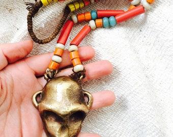 Vintage Nagaland Naga Brass Monkey Pendant Necklace Rare
