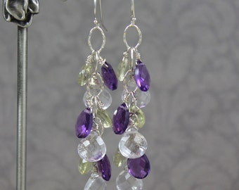 Deep Purple Amethyst, Clear and Lemon Quartz Hammered Sterling Silver Long Dangling Earrings