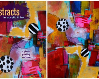 Print and Book Special price:  Abstracts in Acrylic in Ink Signed book and cover painting print by Jodi Ohl