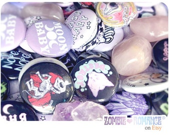 "1""  Button Mix Bag Choice of 2 Original Zombie Romance Designs"