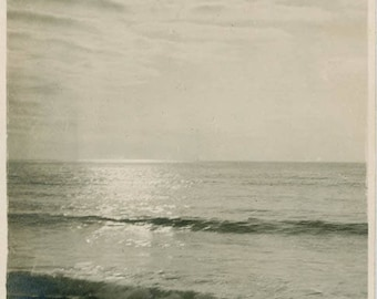 vintage photo 1917 Seaside Sunset Beautiful Rippling Clouds at Beach