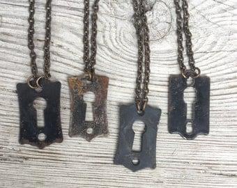 Antique Keyhole Necklace. Men's Steampunk Jewelry. Old Black Escutcheon on Oxidized brass chain. Vintage hardware Found Object s37