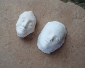 2 Unglazed Ceramic Clay Bisque Cabochon Faces for Mosaic Crafts Assemblage Altered Art