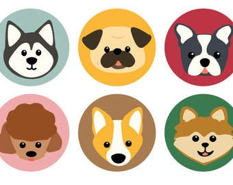 Set of 4 Dog Buttons - Free shipping