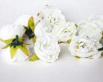 15 Mini Ruffled Roses in White and Ivory - SMALL Sweetheart Artificial Roses - ITEM 01084