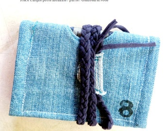 Denim card and coin purse made from recycled materials