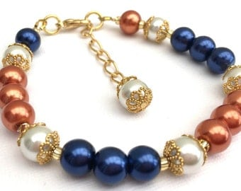 Navy Blue and Burnt Orange Bracelet and Earrings Set, Jewelry Set, Pearl Bridesmaid Jewelry, Single Strand Bracelet, Block Colour Jewelry