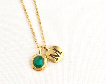 Birthstone Necklace Gift For Her - Initial Necklace - Personalized Necklace - May Birthstone Jewelry - May Birthday - Emerald Crystal