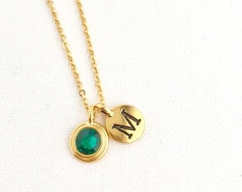 May Birthstone Necklace - Emerald Necklace - Initial Necklace - Personalized Necklace - Birthstone Jewelry - May Birthday - Emerald Crystal