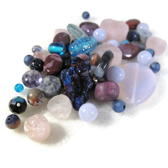 Gemstone Bead Mix, Purple & Blue Gemstone Grab Bag, Beads for Making Jewelry, Assorted Shapes and Sizes (L-Mix1a)