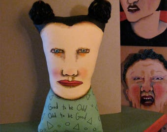 art doll head , Good to be Odd , sandy mastroni, Frida , whimsical, red lipstick, wall art doll , shelf art,