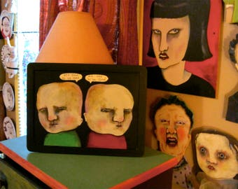 original weird art, sandy mastroni,  good to be odd boys ,outsider , creepy original painting , ooak painting
