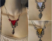 Vintage Art Deco 1920s, 1930s Vauxhall Czech Glass Belt Buckle Necklace, Ruby, Topaz & Crystal , 3 Piece Wholesale Lot