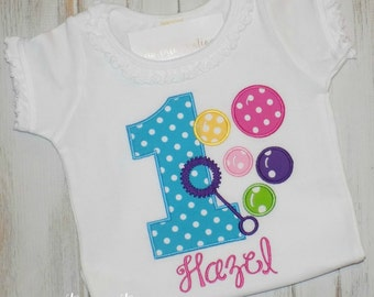 Girl Bubbles Birthday Shirt, Girls Bubbles shirt, Ruffle shirt, Blowing Bubbles Shirt, Girl Birthday shirt bubbles outfit sew cute creations