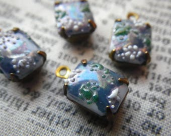 Steel Blue Cherry Blossom Vintage Textured Glass 10x8mm Brass Ox Drops 4 Pcs