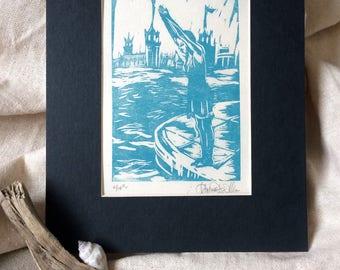Linocut Print - Take the Plunge - in Aqua