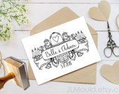 0327 NEW Design! JLMould Beauty and the Beast True Love Wedding Custom Personalized Rubber Stamp Wedding Invitations Save the Date RSVP