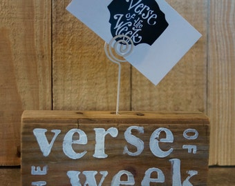 Barnwood Verse Of The Week Card Holder - scripture memory - verse of the day - homeschool - sunday school