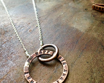 Bronze Custom Entwined Circles Necklace with Hand Stamped Message 8th & 19th Anniversary Gift Infinity Necklace Bronze Jewelry PERSONALIZED