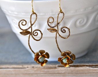 Long boho flower dangle earrings,romantic floral earrings,gemstone flower earrings. Tiedupmemories