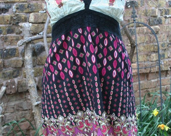 Black and pink and purple halter mini dress medium large cotton hippie