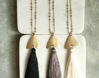 Long Tassel Statement Necklace, Choose Black, Gray or Ivory