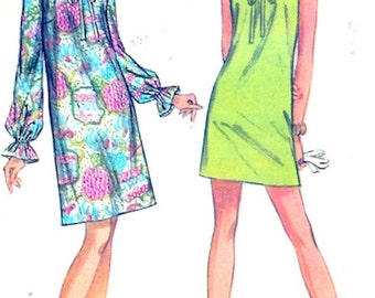 60s Mini dress Mod style frocks Retro 1960s vintage sewing pattern McCalls 9658 8144 size 10 UNCUT