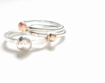 14 K Solid Rose Gold, Yellow Gold and Silver Pebbles Rings, Set of Three