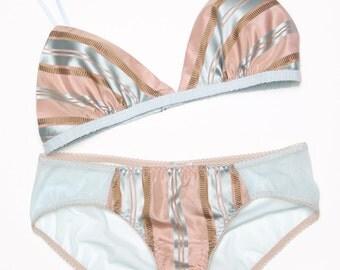 Silk lingerie 2pc set- Marianne pastel satin bralet and panties, undies, knickers, soft triangle bra bralette luxury retro, Marie Antoinette