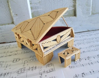 Little Wooden Folk Art Grand Piano and Bench