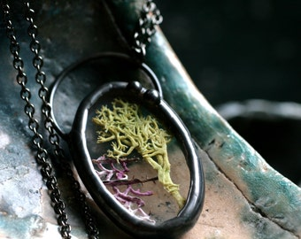 terrarium necklace real moss necklace stained glass necklace boho jewelry gunmetal chain oval pendant sea fan necklace MOSS ELLIPSE