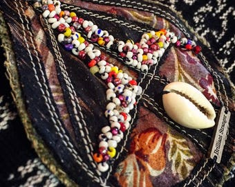Ancestry Cloth Pendant Necklace - Cowrie Shell and seedbeaded statement jewelry, gypsy nomad necklace, wearable art, fine art bead necklace
