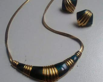 Vintage 1980s Gold Tone Enamel Choker Necklace and Earring Set