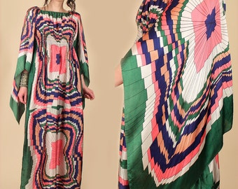 Psychedelic Scarf Dress ViNtAgE 60s 70s ANGEL Wing Maxi Dress // Smocked Empire Waist Angelwing Off Shoulder HiPPiE Mod Gypsy Trippy  S M L