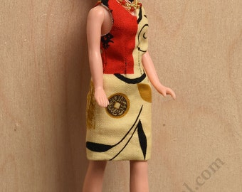 Asian Fusion Sheath Dress, Necklace and Shoes for Dawn and Pippa dolls by awsumgal
