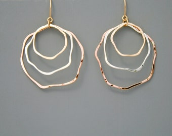 Mixed metal organic hoop earrings with yellow gold filled, rose gold filled and sterling silver, Rachel Wilder Handmade Jewelry