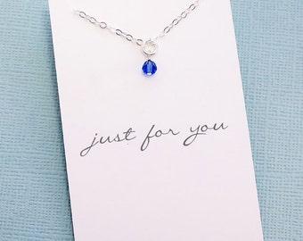 Birthstone Charm Necklace | Birthday Gift | Best Friend Birthday Gift | Swarovski Birthstone Charm | Gold or Silver | X11