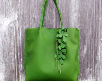 Kelly Green Leather Shoulder Bag with Vine Fringe by Stacy Leigh