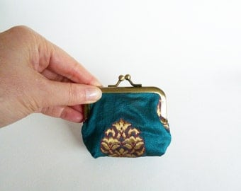 Coin purse, teal and gold Indian sari fabric, decorative pouch