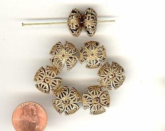 10 Vintage Chocolate Brass Ox Squashed Filigree Metal Beads 16 x 9mm No.163C