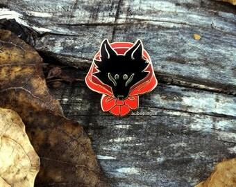 Red Wolf enamel pin