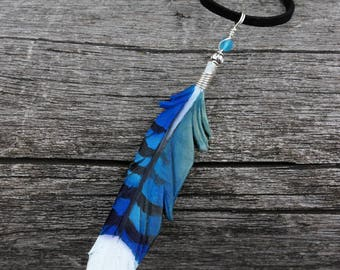 Blue Jay Feather - 3 Inch Leather Bird Feather Pendant with Silvertone Wire