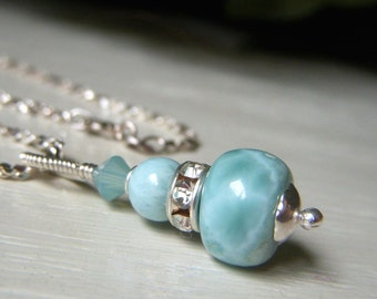 Genuine Larimar Necklace, Sterling Silver, Larimar Pendant, Ocean Jewelry, Cruise Jewelry, Larimar Jewelry, Beach Jewelry, Sky Blue Gemstone