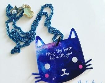 "KITTY FORCE ""darling kitties"" 2017 laser cut silkscreen print necklace, plexiglass, acrylic, perspex"